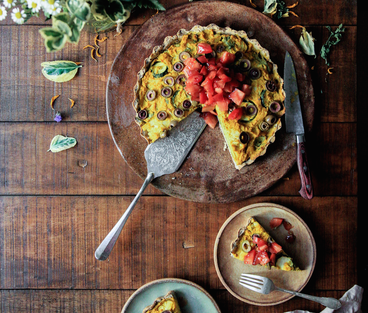Staying on track during February + Gluten-free Almond, Leek and Ricotta Tart Recipe